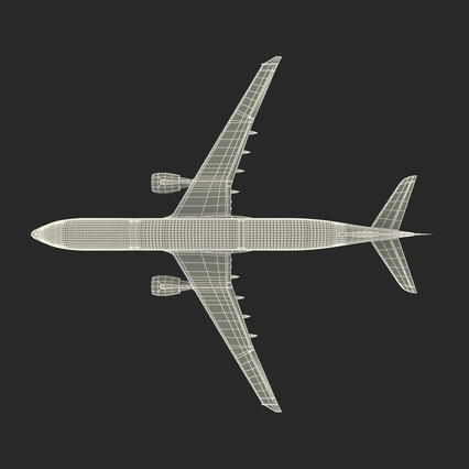 Jet Airliner Airbus A330-300 Emirates Rigged. Render 58