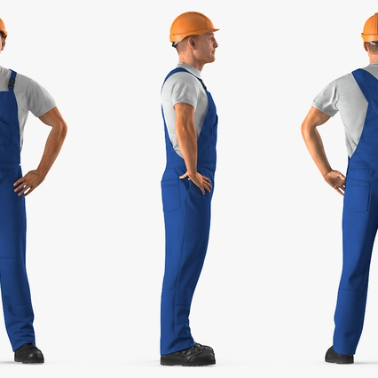 Construction Worker with Hardhat Standing Pose. Render 5