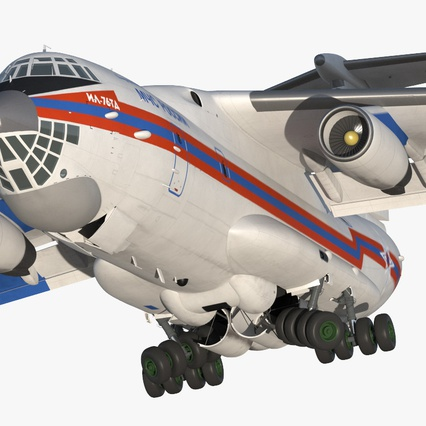 Ilyushin Il-76 Emergency Russian Air Force Rigged. Render 11