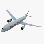 Jet Airliner Airbus A330-300 Qatar Rigged. Preview 1