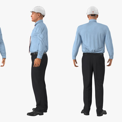 Construction Engineer in Hardhat Standing Pose. Render 5