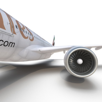 Jet Airliner Airbus A330-300 Emirates Rigged. Render 47