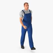 Construction Worker Blue Uniform Walking Pose