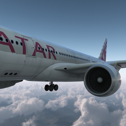 Jet Airliner Airbus A330-200 Qatar. Render 11