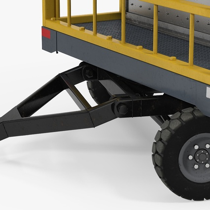 Airport Luggage Trolley Baggage Trailer with Container. Render 18