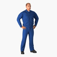 Construction Worker Blue Overalls Standing Pose. Preview 3