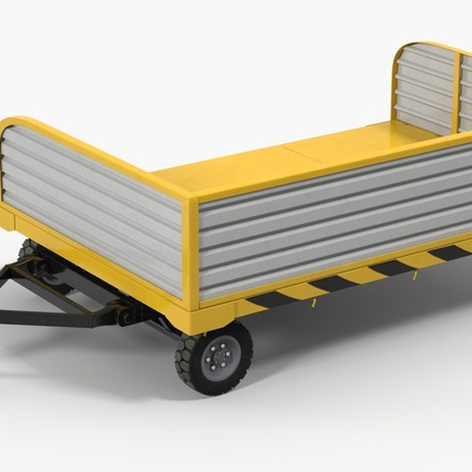 Airport Luggage Trolley with Container Rigged. Render 5
