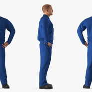 Construction Worker Blue Overalls Standing Pose. Preview 5