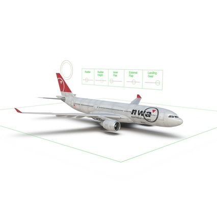 Jet Airliner Airbus A330-200 Northwest Airlines Rigged. Render 53