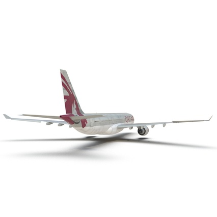 Jet Airliner Airbus A330-300 Qatar Rigged. Render 31