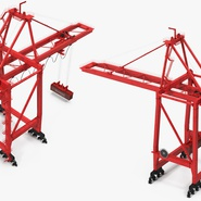 Port Container Crane Red with Container. Preview 13