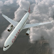 Jet Airliner Airbus A330-300 Qatar Rigged. Preview 7