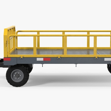 Airport Luggage Trolley Baggage Trailer with Container. Render 11
