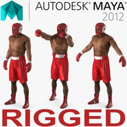 African American Boxer Red Suit Rigged for Maya