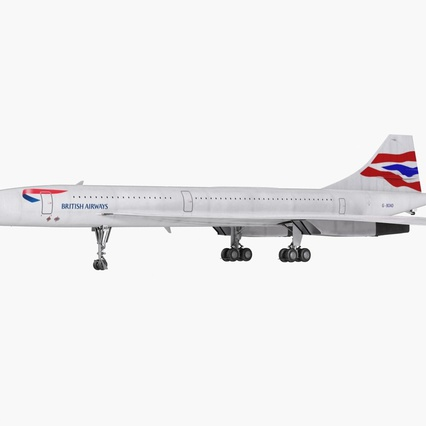 Concorde Supersonic Passenger Jet Airliner British Airways Rigged. Render 3