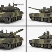 T72 Main Battle Tank Camo Rigged. Preview 11