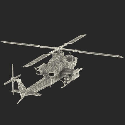 Attack Helicopter Bell AH 1Z Viper Rigged. Render 93