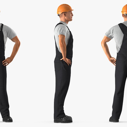 Construction Worker Black Uniform with Hardhat Standing. Render 5
