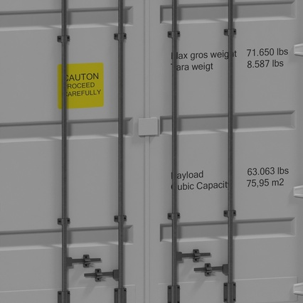 40 ft High Cube Container White. Render 25