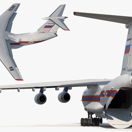 Ilyushin Il-76 Emergency Russian Air Force Rigged. Render 15