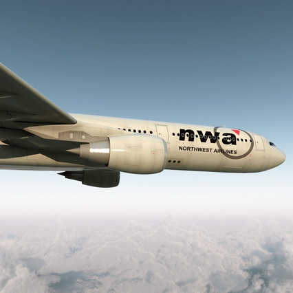 Jet Airliner Airbus A330-300 Northwest Airlines Rigged. Render 15