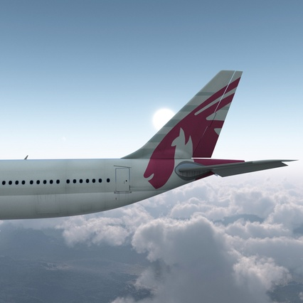 Jet Airliner Airbus A330-300 Qatar Rigged. Render 16