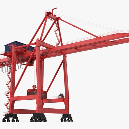 Port Container Crane Red with Container. Render 6