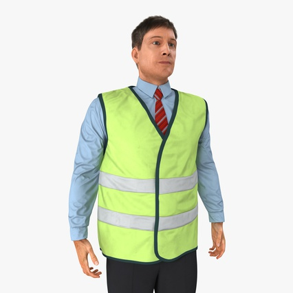 Construction Architect in Yellow Safety Jacket Standing Pose. Render 1