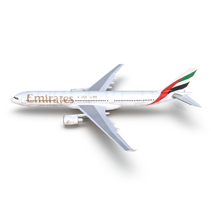 Jet Airliner Airbus A330-300 Emirates Rigged. Render 18