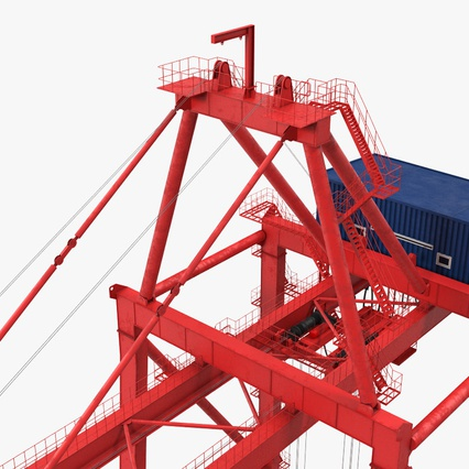Port Container Crane Red with Container. Render 22