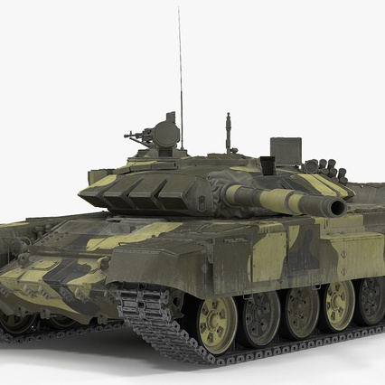 T72 Main Battle Tank Camo Rigged. Render 2
