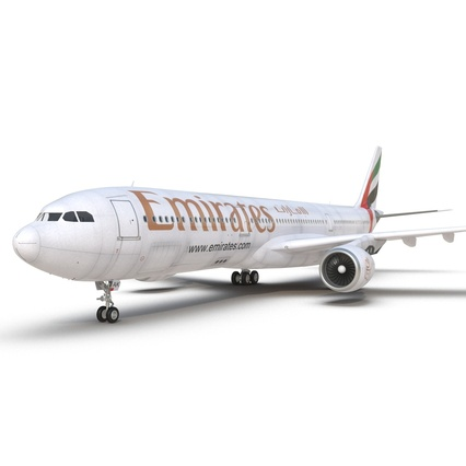 Jet Airliner Airbus A330-300 Emirates Rigged. Render 39