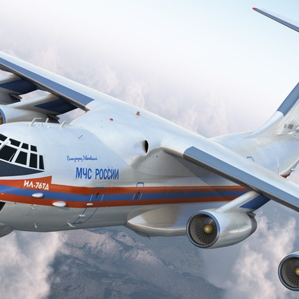 Ilyushin Il-76 Emergency Russian Air Force Rigged. Render 8