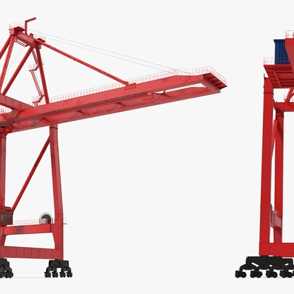 Port Container Crane Red with Container. Render 8