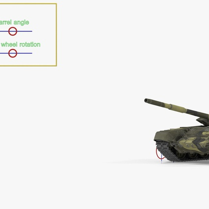 T72 Main Battle Tank Camo Rigged. Render 4