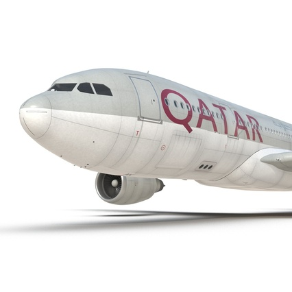 Jet Airliner Airbus A330-200 Qatar. Render 41
