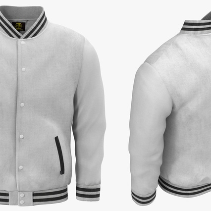 White Baseball Jacket. Render 5