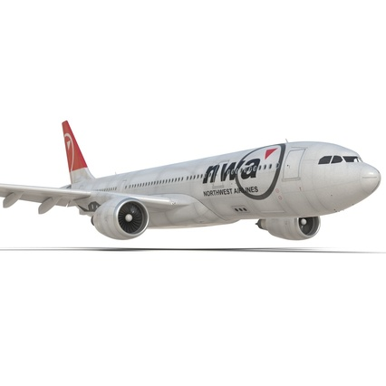 Jet Airliner Airbus A330-200 Northwest Airlines Rigged. Render 32
