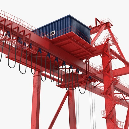 Port Container Crane Red with Container. Render 18
