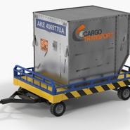 Airport Transport Trailer Low Bed Platform with Container Rigged. Preview 3