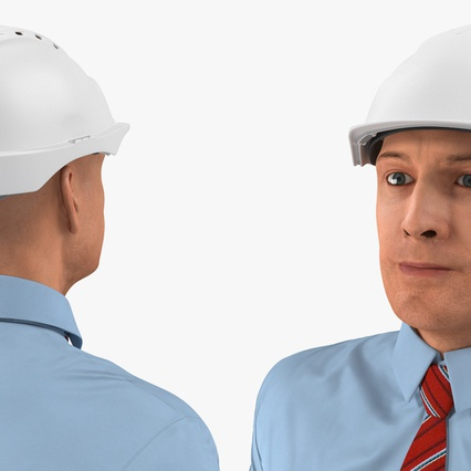 Construction Engineer in Hardhat Standing Pose. Render 12