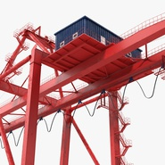 Port Container Crane Red with Container. Preview 17