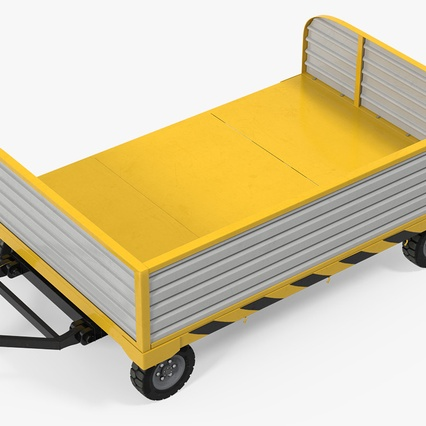 Airport Luggage Trolley with Container Rigged. Render 16