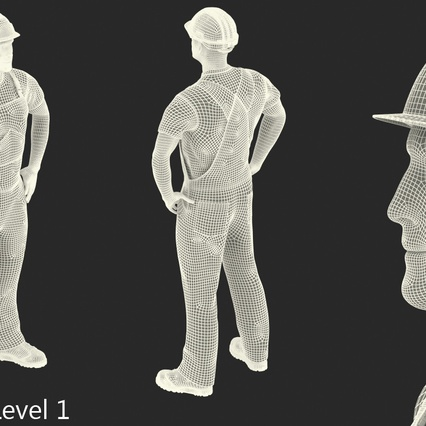 Construction Worker Black Uniform with Hardhat Standing. Render 19
