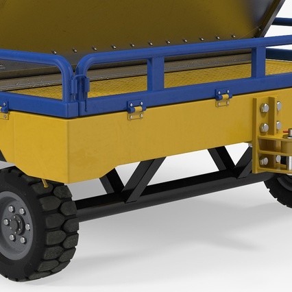 Airport Transport Trailer Low Bed Platform with Container Rigged. Render 11