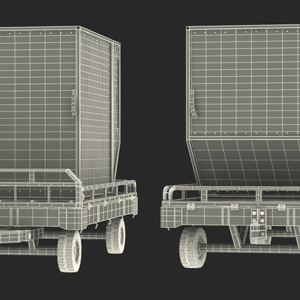 Airport Transport Trailer Low Bed Platform with Container Rigged. Render 32
