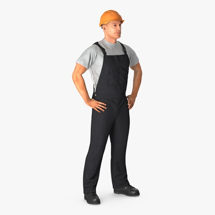 Construction Worker Black Uniform with Hardhat Standing. Render 1