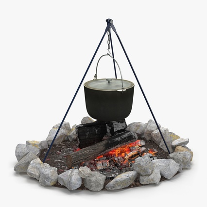 Campfire with Tripod and Cooking Pot. Render 2