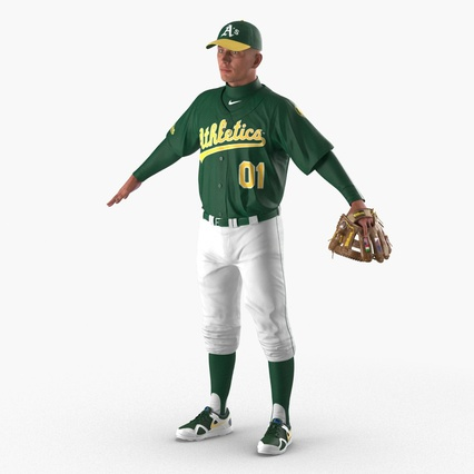Baseball Player Rigged Athletics for Cinema 4D. Render 2
