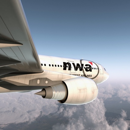 Jet Airliner Airbus A330-200 Northwest Airlines Rigged. Render 14